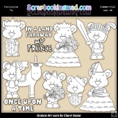 Shorty Bears Once Upon A Time Colour Your Own ClipArt RESALE SET