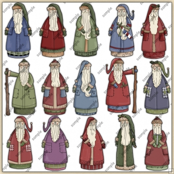 Old Fashioned Santas ClipArt Graphic Collection