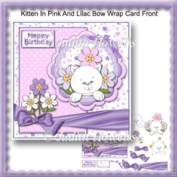 Kitten In Pink And Lilac Bow Wrap Card Front