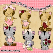 Sweet Little Kitty Valentines ClipArt Graphic Collection