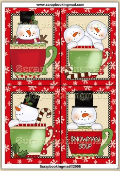 4 Snowman Cup's Quick Greeting Cards PDF Download