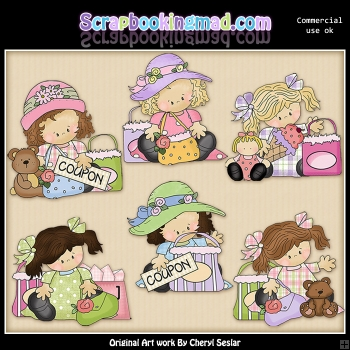 Madison and Molly Coupon Clippers ClipArt Graphic Collection