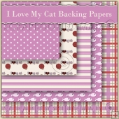 I Love My Cat 5 Backing Papers Download (C51)
