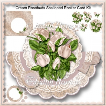 Cream Roses Scalloped Rocker Card Kit