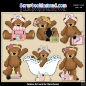 Ramona Bear So Girly ClipArt Graphic Collection