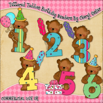 Tattered Teddies Birthday Numbers ClipArt Graphic Collection