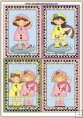 4 Raincoat Girls Quick Greeting Cards PDF Download