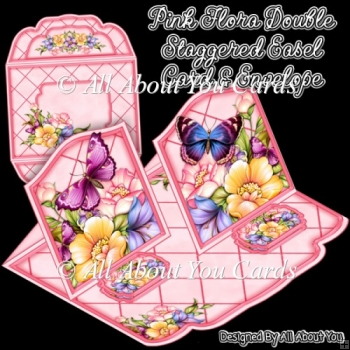 Pink Flora Double Staggered Easel Card