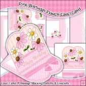 Pink Birthday Flowers Easel Card Download