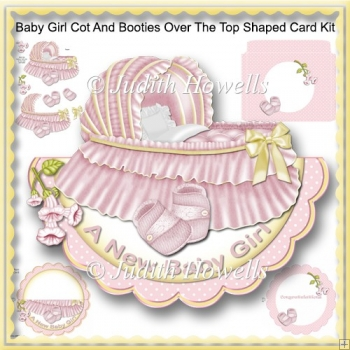 Baby Girl Cot And Booties Over The Top Shaped Card Kit