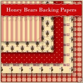 5 Honey Bears Backing Papers Download (C158)