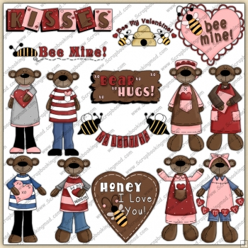 Chocolate Valentine Bears ClipArt Graphic Collection