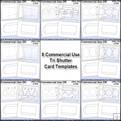 All 8 Tri Shutter Card & Envelope Templates Commercial Use Ok