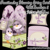 Freestanding Blooming Spring Card & Envelope & Pillow Gift Box