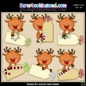 Reindeer Christmas Tags ClipArt Collection