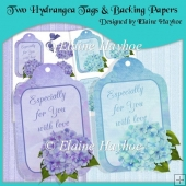 Two Hydrangea Tags & Backing Papers