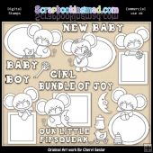 Mouse Peekers Baby EXCLUSIVE Digital Stamp Graphics