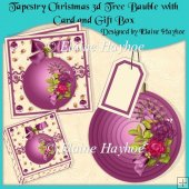 Tapestry Christmas 3d Tree Bauble with Card and Gift Box
