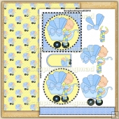 Blue Baby Buggy PDF Decoupage Download