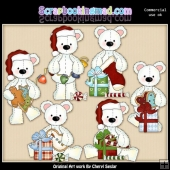Stuffed Polar Bears Christmas ClipArt Collection