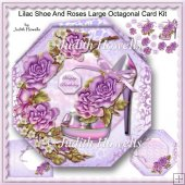 Lilac Shoe And Roses Large Octagonal Card Kit