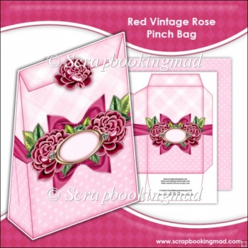Red Vintage Rose Pinch Bag