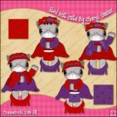 Red Hat Cats ClipArt Graphic Collection