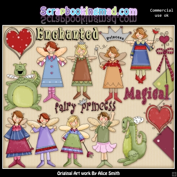 Fairy Princess Dragons ClipArt Graphic Collection