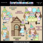 RESALE ART WORK Beautiful Bella Birthday ClipArt Collection