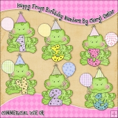 Happy Frogs Birthday Numbers ClipArt Graphic Collection
