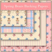 5 Spring Bears Backing Papers Download (C61)