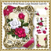 Red And White Roses Large Bracket Card Kit