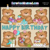 Booboo Bear Birthday ClipArt Collection