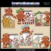 Gingerbread Christmas Jars ClipArt Collection