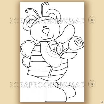 Honey Flower Bear - Digital Stamps