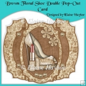 Brown Floral Shoe Double Pop-Out Card