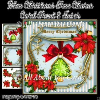 Blue Christmas Tree Charm Card Front & Insert