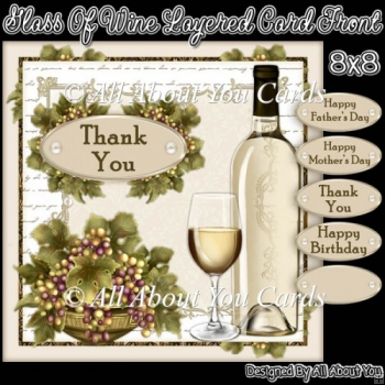 Glass Of Wine Layered Card Front