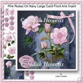 Pink Roses On Navy Large Card Front And Insert