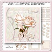 Cream Roses With Ornate Border Card Kit