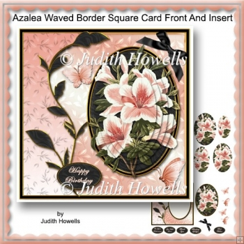 Azalea Waved Border Square Card Front And Insert