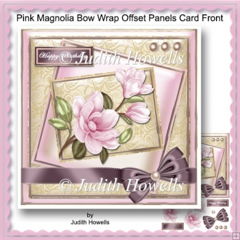 Pink Magnolia Bow Wrap Offset Panels Card Front