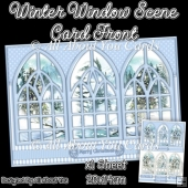 Blue Winter Window Scene Card Front