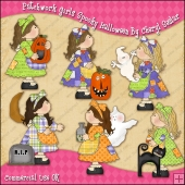 Patchwork Girls Spooky Halloween ClipArt Graphic Collection