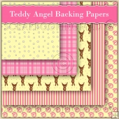5 Teddy Angel Backing Papers Download (C146)