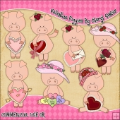 Valentine Piggies ClipArt Graphic Collection