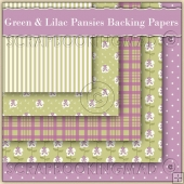 5 Green & Lilac Pansie Backing Papers Download (C113)