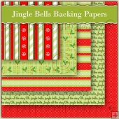 5 Jingle Bells Christmas Backing Papers Download (C195)