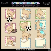 RESALE ART WORK Peek A Boo Bears Sports ClipArt