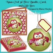 Xmas Owl 3d Tree Bauble, Card, and Matching Gift Box